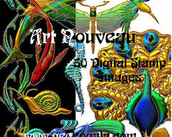 Art Nouveau Digital Stamp Set