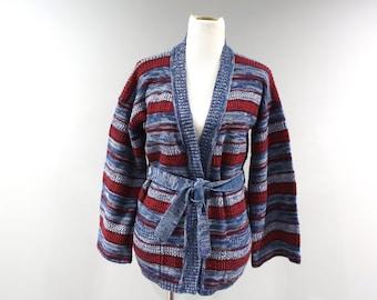Vintage Sweater Womens Size Large L Space Dye Cardigan Tie Waist
