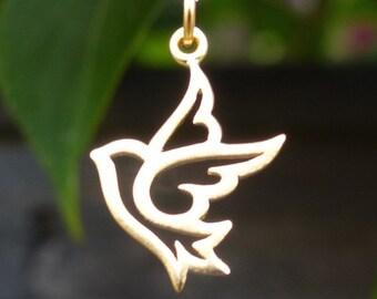 24 Carat Gold Bird Pendant Satin 24K Gold Plated Peace Dove Bird Charm for Necklace G561