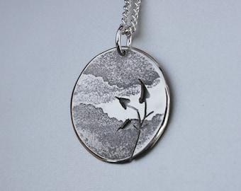 Mountain Leaves Pendant, Silver Pendant, Silver Jewellery.