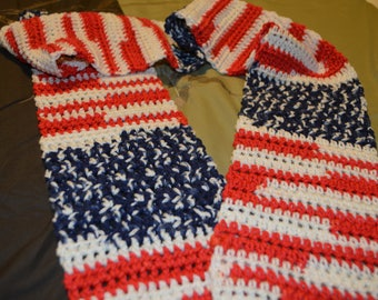 Crocheted Scarf in American Flag