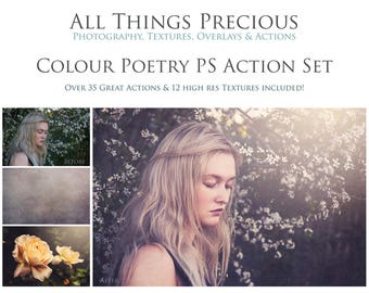 Over 40 Fine Art Digital COLOUR POETRY Photoshop Actions with 12 TEXTURES Set