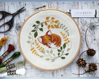 Fox needlework kit, sleepy fox, cute needlework, cross stitch kit, DIY kit, garden needlework, cross stitch pattern, fox gift, gifts for her