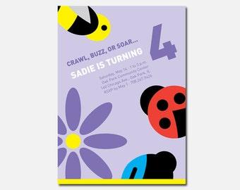 Bug Birthday Party Invitation, Bug Party, Custom Invitation, Printable Invitation, Flying Pinwheel