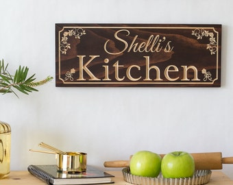 Kitchen sign, Chef Gift, Cooking Gift, Present for Wife, Gift for Her, Personalized Kitchen Sign, Carved Wood Sign, Gift for Mom, 7x19