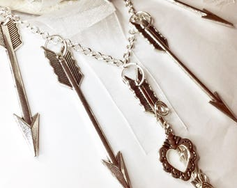 Large Silver Arrow necklace, hearts and  arrows, arrow, arrow charms, trendy Jewelry, womens jewelry, statement necklace uk, ladies jewelry