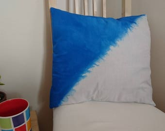 Cushion Cover made from 100% ORGANIC cotton, 40x40cm, dip-dye effect blue