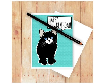 Black Cat Birthday Card, Cat Card, Cat Notecard, Cat Note Card, Cat Greeting Card, Cat Lover, Cat Thank You Card, Cat Get Well Card