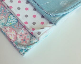 Burp Cloths / Pink and Blue / Baby Girl / Set of 3 / Flannel and Terry Cloth / Large and Absorbent / FREE SHIPPING in USA