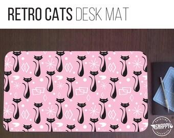Retro Cats Pattern Desk Mat - 2 Sizes - High Quality Digital Print, Dye Sublimation - Hand Washable
