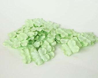 100 pcs - Mint Mulberry Paper Hydrangeas - Wholesale pack