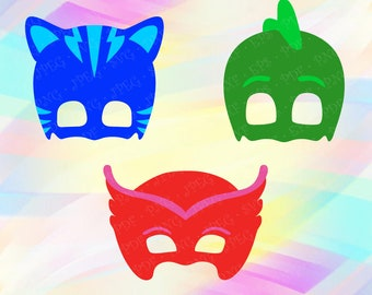 PJ Masks SVG PNG Catboy Gekko Owlette Cut Vector Files Cricut Designs Silhouette Studio Vinyl Decal Tshirt Iron on Template Birthday Party
