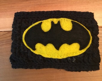 Batman crocheted reusable coffee coozie/sleeve