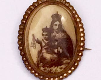 Antique Religious Brooch Featuring The Virgin Mary and Baby Jesus