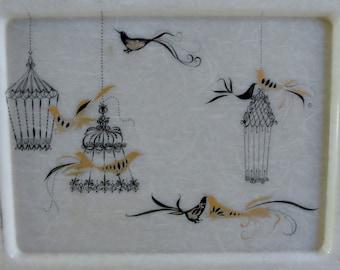 Mid Century Modern Fiberglass Tray Birds and Cage Designs Black Gold