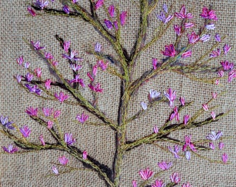 Wall hanging textile Art  Magnolia tree  Framed picture Embroidery painting Home ware gift for her