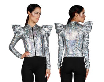 Futuristic Jacket in Silver, Holographic Clothing, Rave Outfit, Costumes Burning Man, Futuristic Clothing, Dancewear, Stage Wear, LENA QUIST