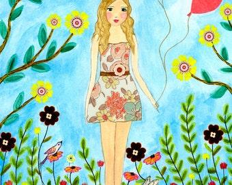 Nursery Wall Art, Princess Painting Wall Art, Nursery Art Print, Baby Girl Nursery Decor, Kids Room Decor, Children Decor