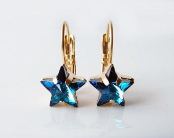 Star Earrings. Swarovski Bermuda Blue Star Gold Plated Earrings. Simple Modern Jewelry by Smallbluethings