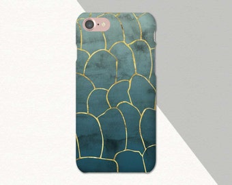 Blue Green Gold Minimalist Phone Case, Abstract iPhone X Case, iPhone 6S Case Green, Phone Cases for iPhone 8, iPhone 7 Plus, Green Blue