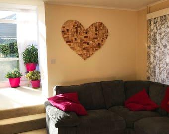Wooden Wall Art Block Heart