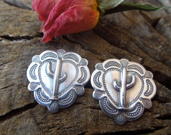 Stamped Sterling Silver Santa Fe Southwestern Small Heart Saguaro Cactus Concho Post Earrings