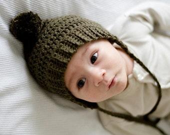 Newborn Baby Bonnet, Crochet Baby Hat, Bonnet with Pom Pom, Pixie bonnet, Hat with Pom Pom, Knit Baby Hat, Knit Baby Bonnet,  Olive Green