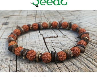 Natural seeds bracelet-Rudraksha, watermelon