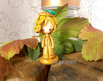Girl pumpkin with Polymer Clay figurine