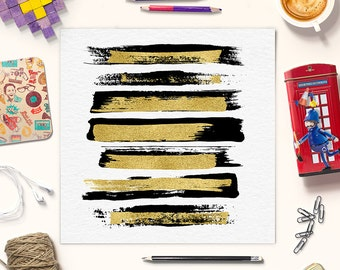 PURE ELEGANCE | Black Brush Strokes With Gold Foil | Hand Painted Clipart | Gold Brush Strokes | Paintbrush Strokes | BUY5FOR8