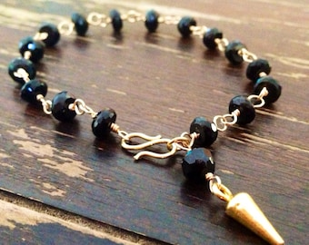 Black Spinel Bracelet - 24K Gold Vermeil Jewellery - Spike Jewelry - Gemstone