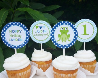 Frog Cupcake Toppers - Printable or Assembled/Shipped with FREE Shipping - Froggy Delight Collection