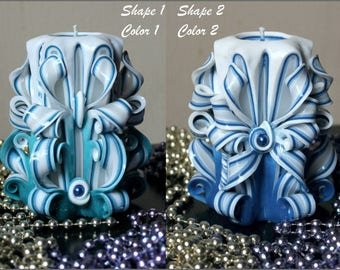 Mother's day gift - Purple Candle - Blue candles - Unique Housewarming Gift for him - Carved candles