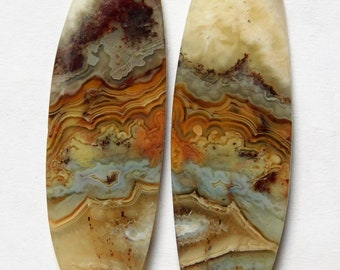 41.15 Cts Natural Crazy Lace Agate (43mm X 14.5mm each) Loose Cabochon Match Pair