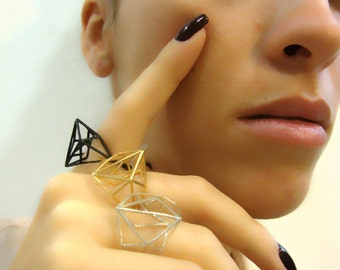Geometric Architecture Brass Ring