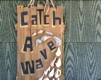 mosaic 'Catch A Wave' natural seashell art/ rustic surf art/ ocean art