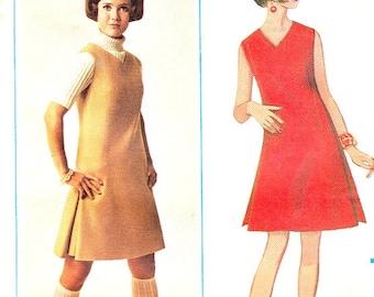 Vintage 60's Sleeveless Aline Jumper Pattern Size 14 Bust 36 V Neckline Side Pleats Butterick 4719 Sewing Pattern Complete