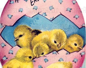 Retro Chicks In A Easter Egg Happy Easter Card #685 Digital Download