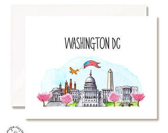 Washington DC Illustration Card - Handmade - Set of 10 - A2 Blank