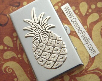 Silver Pineapple Pill Box Small Pillbox Silver Tone Plated Metal Pill Case Victorian Style Vintage Inspired New