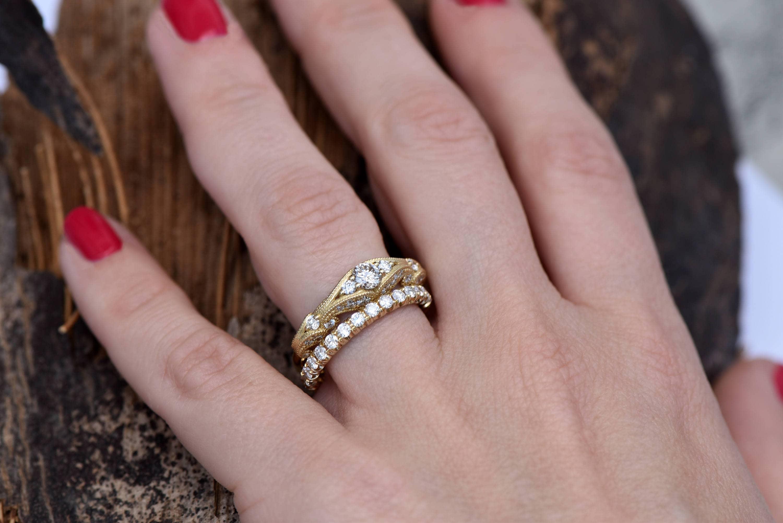 Filigree engagement wedding set-Diamond Bridal set-Gold Ring ...