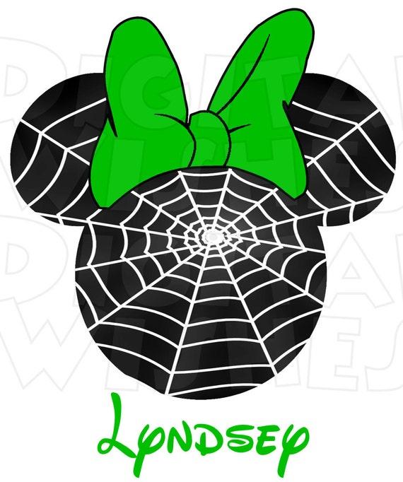 Minnie Mouse Spider Web Halloween Head Ears Digital Iron On