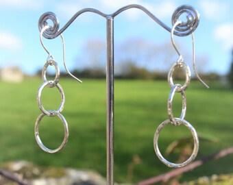 Triple Circle Sterling Silver Earrings, Circle Earrings, Hoop Earrings, Geometric Earrings, Minimalist Earrings, Simple Earrings