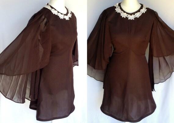 Vintage s s mod psych hippie brown floral applique collar