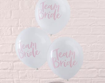 Pink & White Hen Party Balloons - 10 Pack Team Bride | Coral Blush Pink Hen Do | Team Bride | Hen Party | Bachelorette Party Prop | Garland
