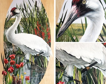 Reintroduction I (Whooping Crane) - original framed acrylic painting of a Whooping Crane 4' x 8'