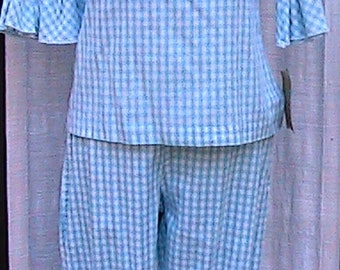 Small 1960s Gidget inspired Hand Made COTTON Pant Suit