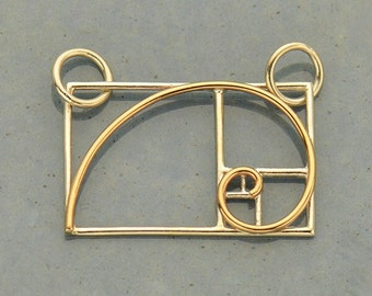 Sacred Geometry Charm - Golden Ratio in Silver and Bronze. Festoon