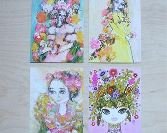 Set of Four Vintage Ladies Birthday Cards