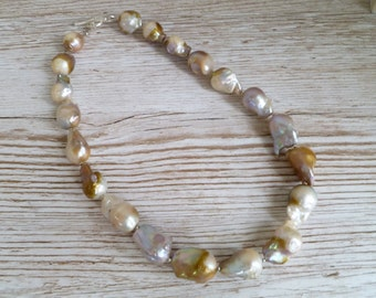 """Nucleated Pearl Necklace Natural Fresh Water Pearls 925 Sterling Silver UK Made 18"""""""
